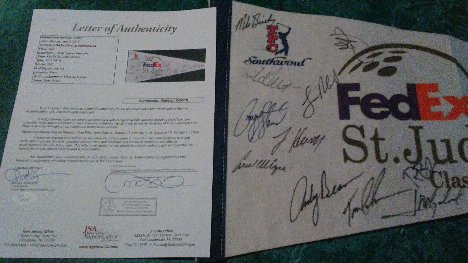 Payne Stewart Golf Legend Multi Signed Autographed Fedex Classic Pennant Loa JSA Certified Autographed Golf Equipment