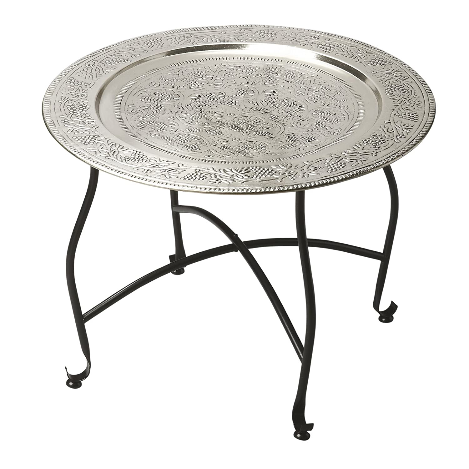 Amazon.com: Kensington Row Furniture Collection Coffee Tables   Marrakesh  Embossed Round Metal Coffee Table   Tray Table   Moroccan Tea Table:  Kitchen U0026 ...