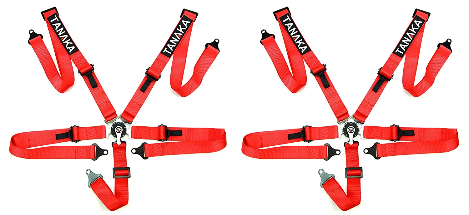 Racing Style Harness For Powersports 5 Points - PAIR (Red5) Tanaka