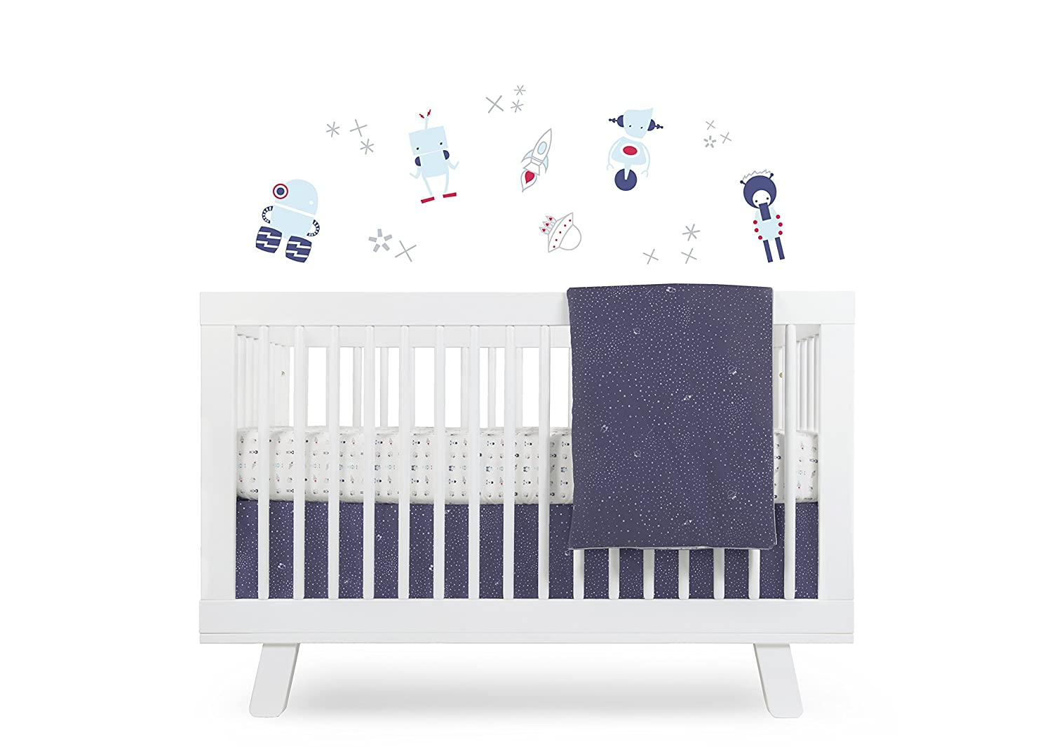 Babyletto 5-Piece Nursery Crib Bedding Set, Fitted Crib Sheet, Crib Skirt, Play Blanket, Contour Changing Pad Cover & Wall Decals, Galaxy