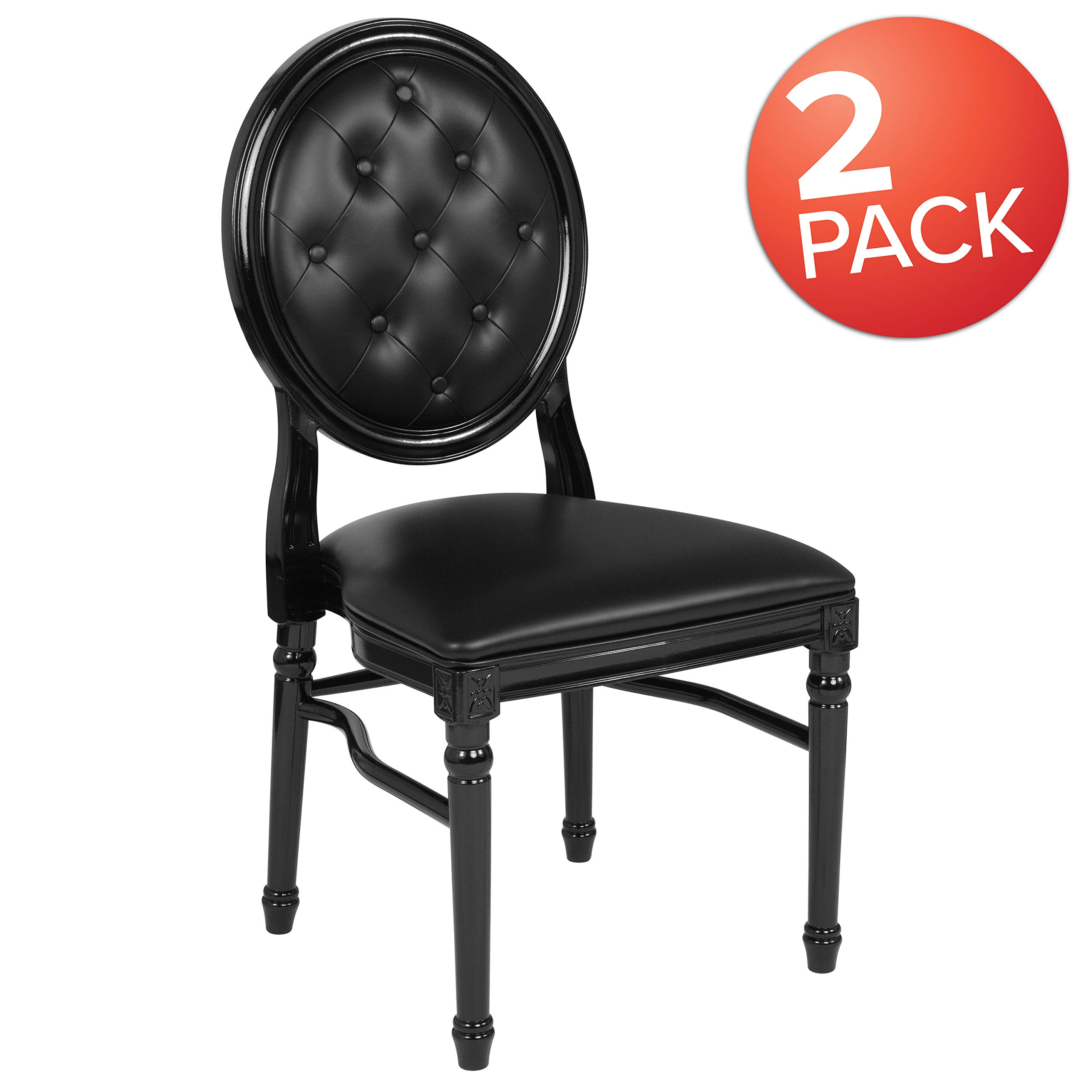 Flash Furniture 2 Pk. HERCULES Series 900 lb. Capacity King Louis Chair with Tufted Back, Black Vinyl Seat and Black Frame