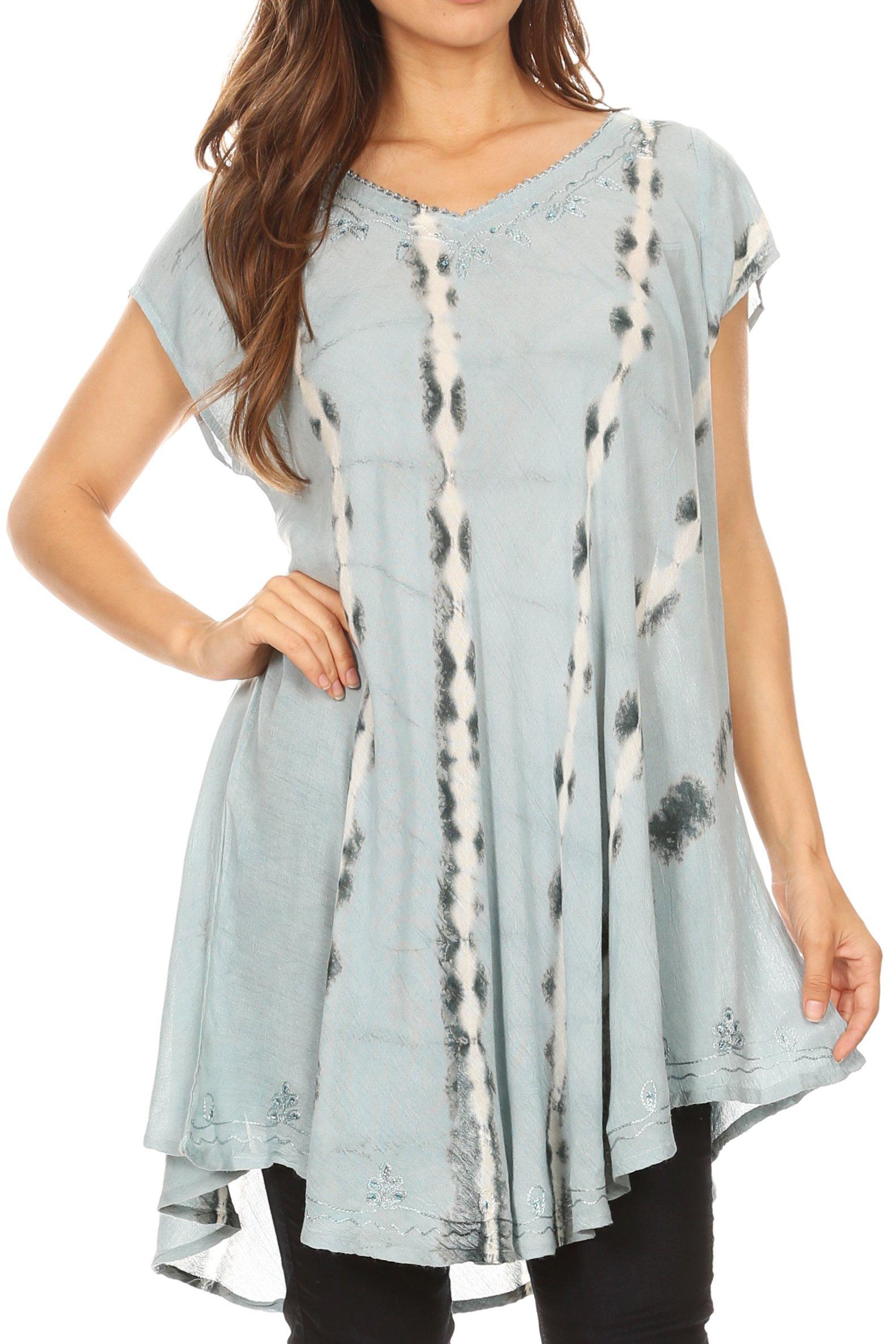 Sakkas 18702 - Maite Womens Tie Dye V Neck Tunic Top Ethnic Summer Style Flowy w/Sequin - Dusty Blue - OSP