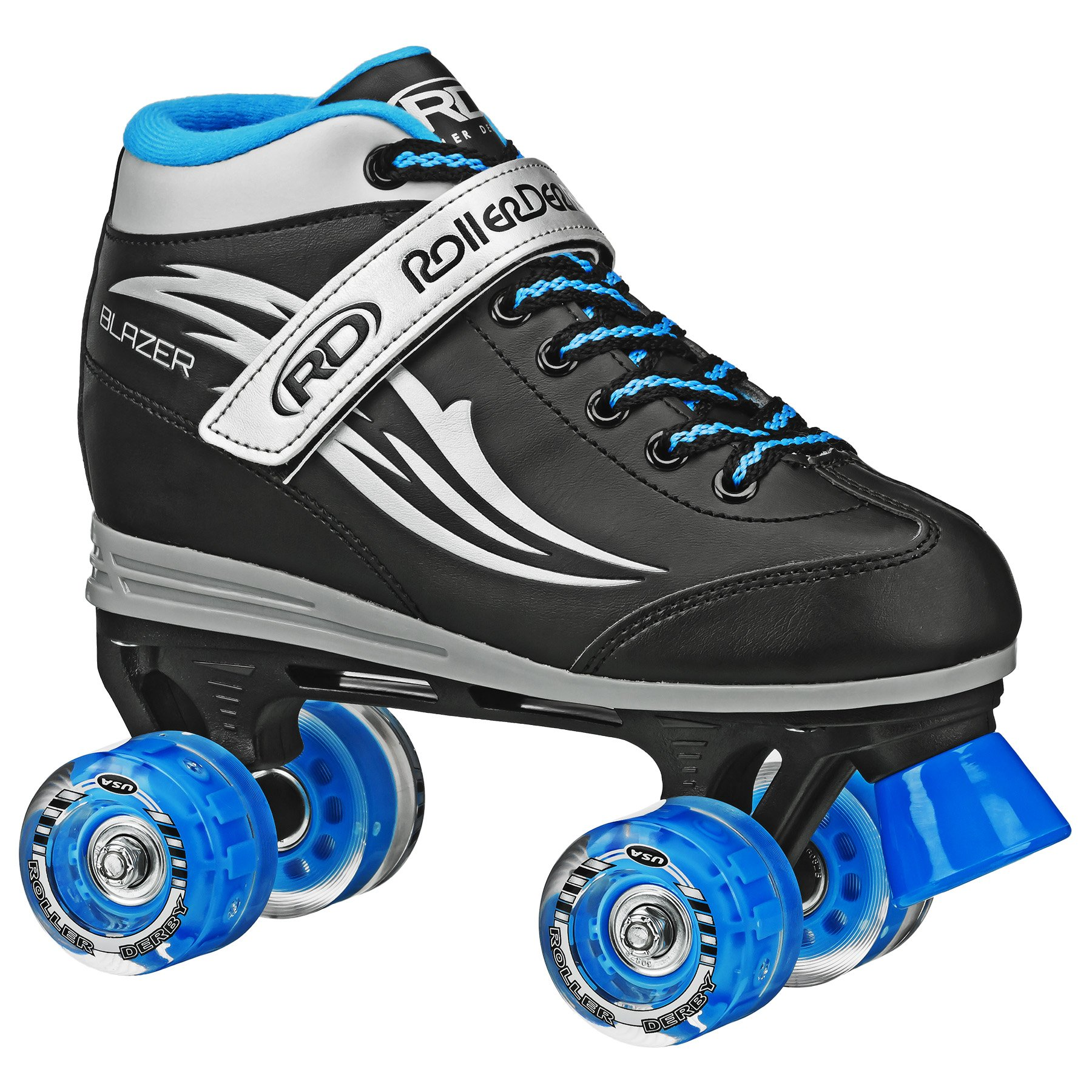 Roller Derby Boys Blazer Lighted Wheel Roller Skate, Black, Size 2