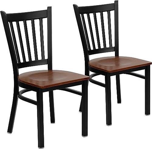 Flash Furniture 2 Pack HERCULES Series Black Vertical Back Metal Restaurant Chair