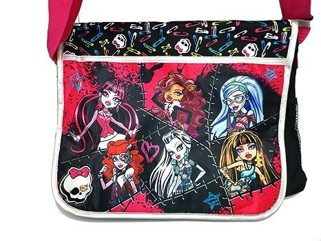 60a8ea6a7b87 Messenger bag monster high black pink pins and skulls school new jpg  466x350 Monster high messenger