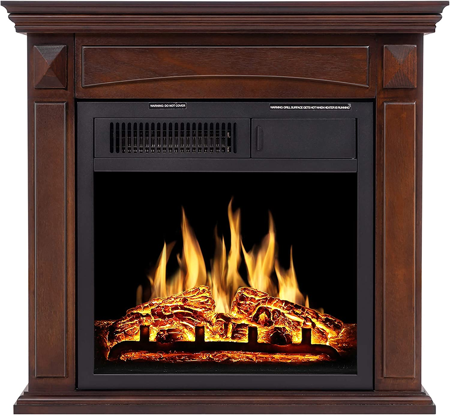 Jamfly Electric Fireplace Mantel Package Wood Surround Firebox Freestanding Corner Fireplace Infrared Quartz Heater Adjustable Led Flame W Logs Remote Control 750w 1500w Brown Home Kitchen