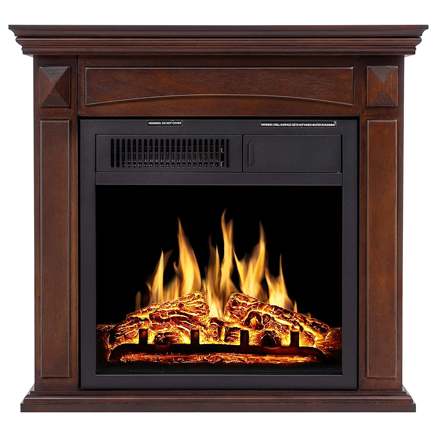 JAMFLY Electric Fireplace Mantel Package Wood Surround Firebox Freestanding Corner Fireplace Infrared Quartz Heater Adjustable Led Flame, w/Logs, Remote Control, 750W-1500W, Brown
