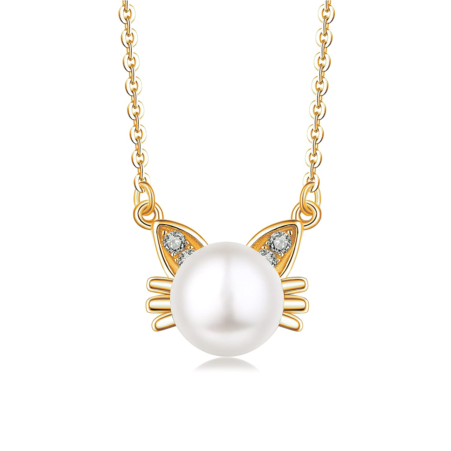 Sterling Silver Cat Pendant Necklace with Cubic Zirconia 9mm Cultured Freshwater Pearls Necklace, 18-20' 18-20 YH Jewelry YP39705A