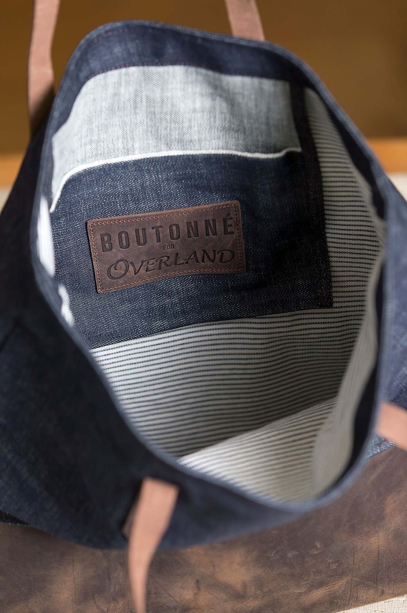 Overland Mills Denim and Leather Tote Bag by Overland Sheepskin Co (Image #4)