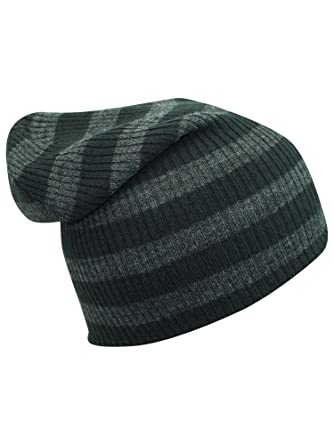86af23f629a56e Image Unavailable. Image not available for. Color: Luxury Divas Dark Gray  Striped Knit Slouchy Beanie Cap Hat