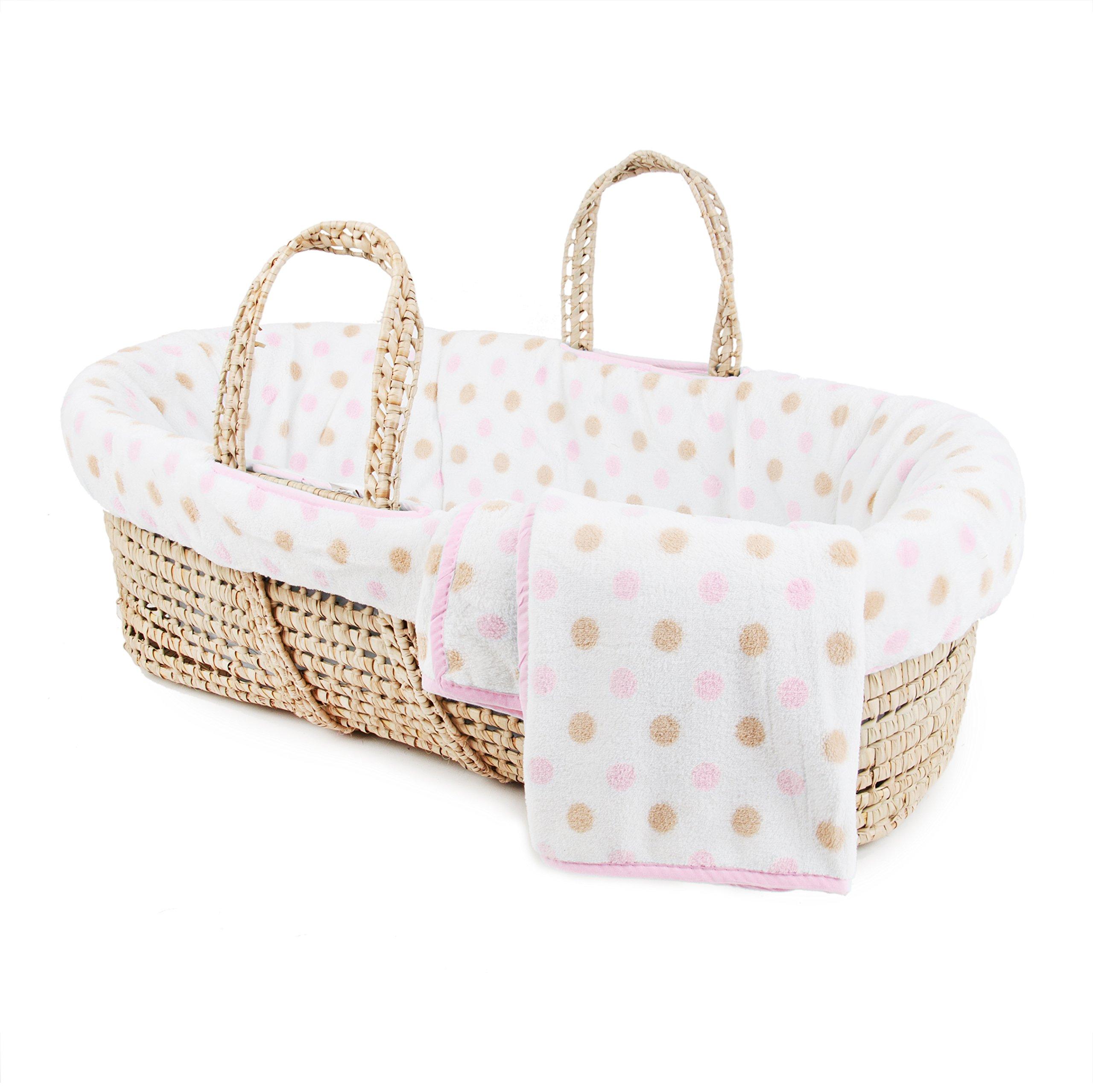 Tadpoles Polka Dot Plush Fleece Moses Basket and Bedding Set, Pink
