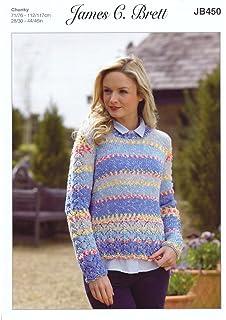 e2e51e4744163 James Brett Womens Knitting Pattern Ladies Harmony Chunky Long Sleeved Lacy  Sweater (JB450)