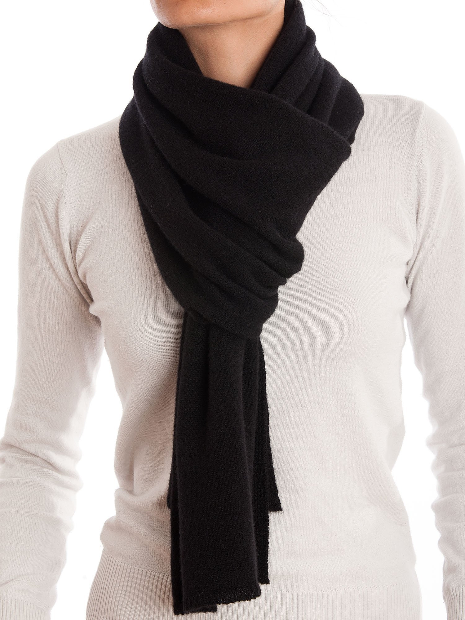 Dalle Piane Cashmere - Scarf 100% cashmere - Made in Italy - Woman/Man, Color: Black, One size