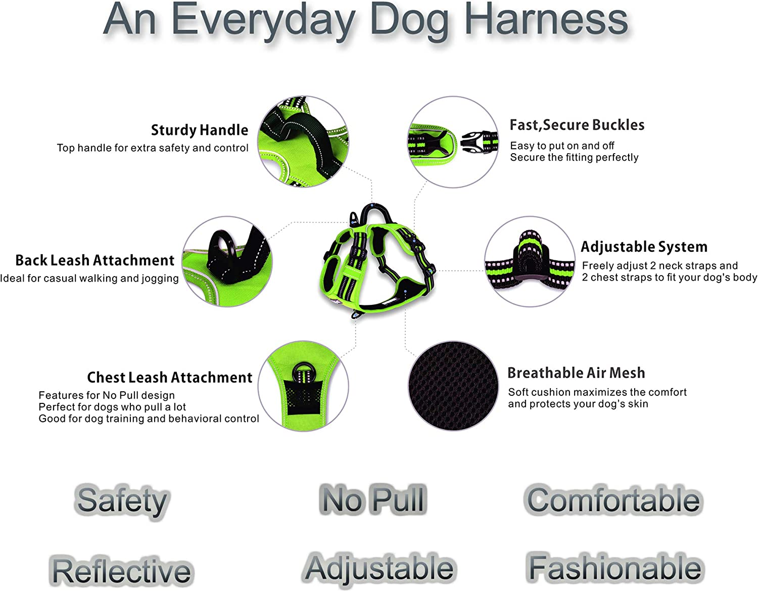 Walking Pet Harness with 2 Metal Rings and Handle Reflective Breathable Oxford Soft Vest Easy Control Front Clip Harness for Small Medium Large Dogs Dog Harness No Pull CUDDLY PET/® Small, Green