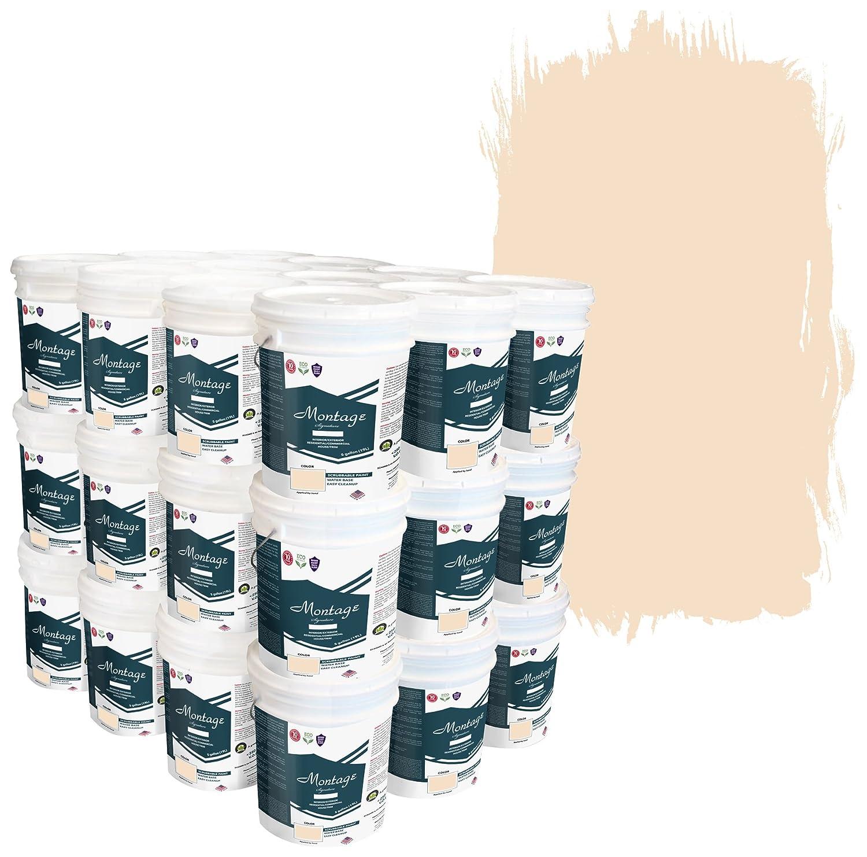 Montage Signature Interior/Exterior Eco-Friendly Paint, Navajo White -  Semi-Gloss, 180 Gallon (Pallet of 36, 5-Gallon Buckets)
