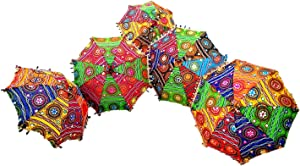 GANESHAM Indian Multi Colored Beach Umbrella UV Protection Umbrella Sun Umbrella Embroidery Boho Parasol Indian Wedding Umbrellas Parasol (5pc) (Multi)