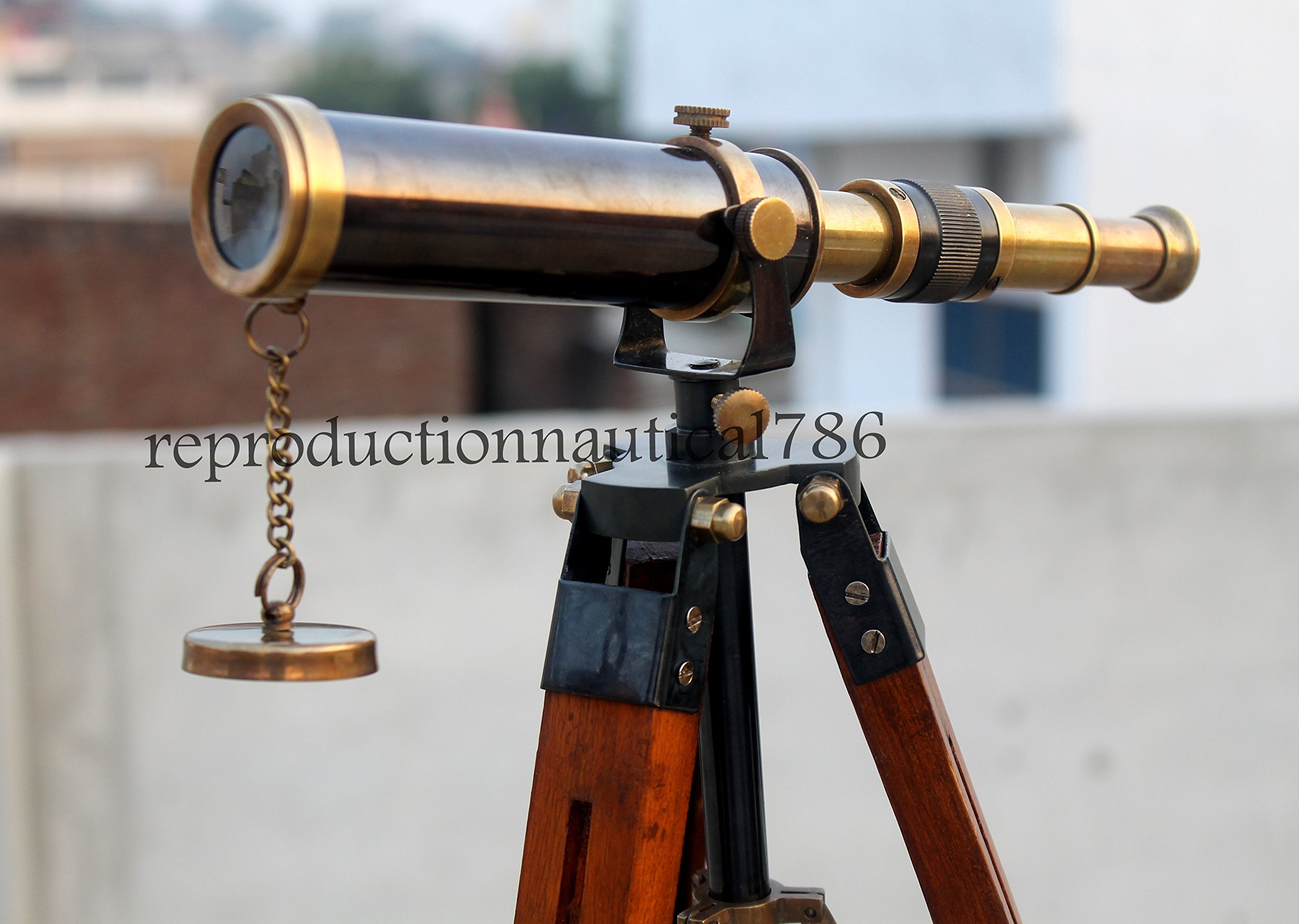 Nautical Two Tone Antique Brass Telescope Vintage Wooden Tripod Handmade Spy Glass Working Telescope Navy Ship Marine Scope Collectible Balcony Desk Tabletop Office Decorative