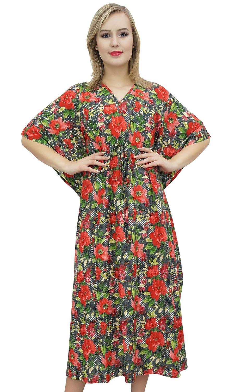 Bimba Floral Maxi largo Kaftan algodón Coverup vestido de dama- de Mujeres: Amazon.es: Ropa y accesorios