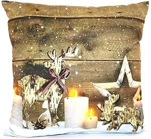 Kissen 30x50cm LED Beleuchtung Weihnachten Dekokissen Wintermotive Fotokissen