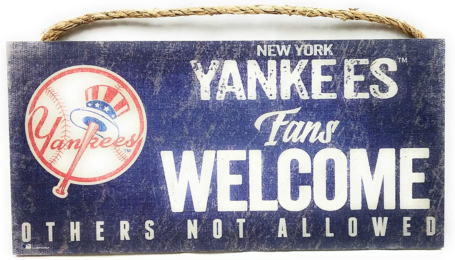 MLB New York Yankees Unisex New York Yankees Fans Welcome sign, Team Color, 6 x 12