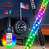 Nilight 1PC 4FT Spiral RGB Led Whip Light with Spring Base Chasing Light RF Remote Control Lighted Antenna Whips for Can…