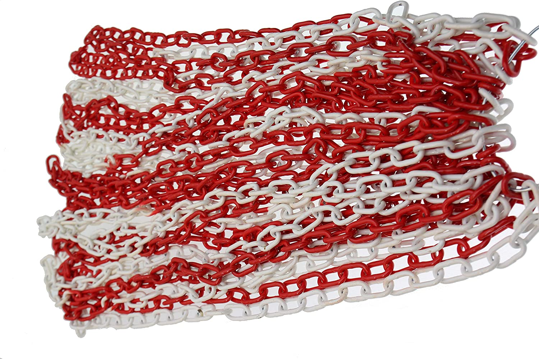 Chaîne de sécurité en Acier Rouge et Blanc 25 m en Acier galvanisé 5 mm