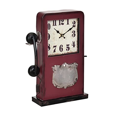 [en.casa]® Reloj de mesa decorativo diseño cabina de teléfono - con