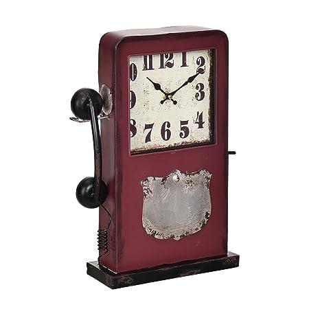 en.casa]® Reloj de mesa decorativo diseño cabina de teléfono - con ...