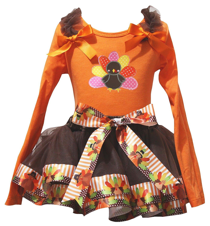 Petitebella Thanksgiving Turkey Orange L//S Shirt Brown Turkey Petal Skirt Nb-8y