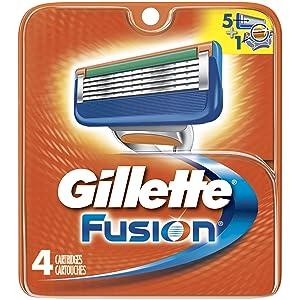 Gillette Fusion Men's Manual Razor Refills, 4 Count