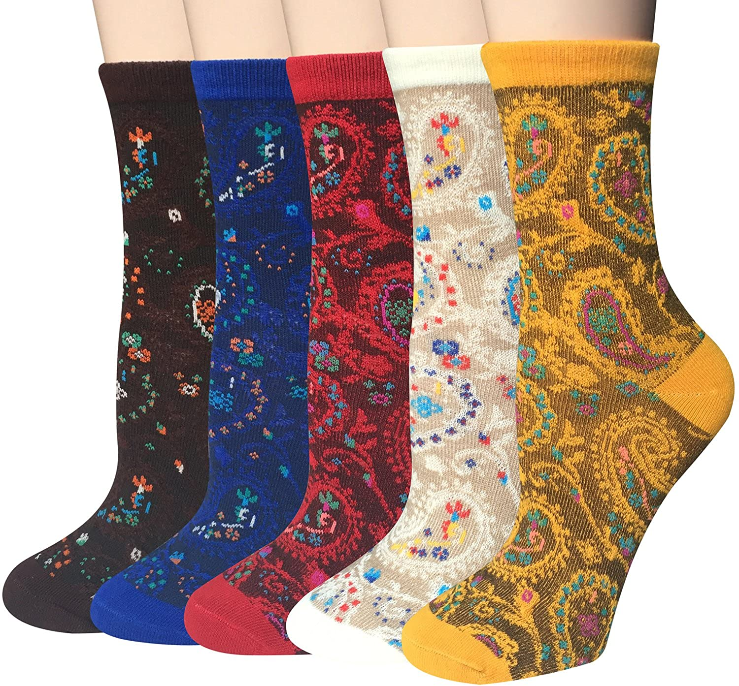 Chalier 5-6 Pairs Womens Funny Socks Vintage Cotton Crew Patterned Socks Novelty Fun Socks for Women