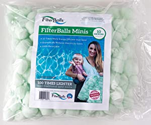 FilterBalls Minis -Filter Media- Made in The USA, Easy to Install Filter Media for Above Ground Pools, Air Filtration, Replacement for Sand, Zeolite, and Mystic White 1/2 Cubic Ft Bag, Green, Small