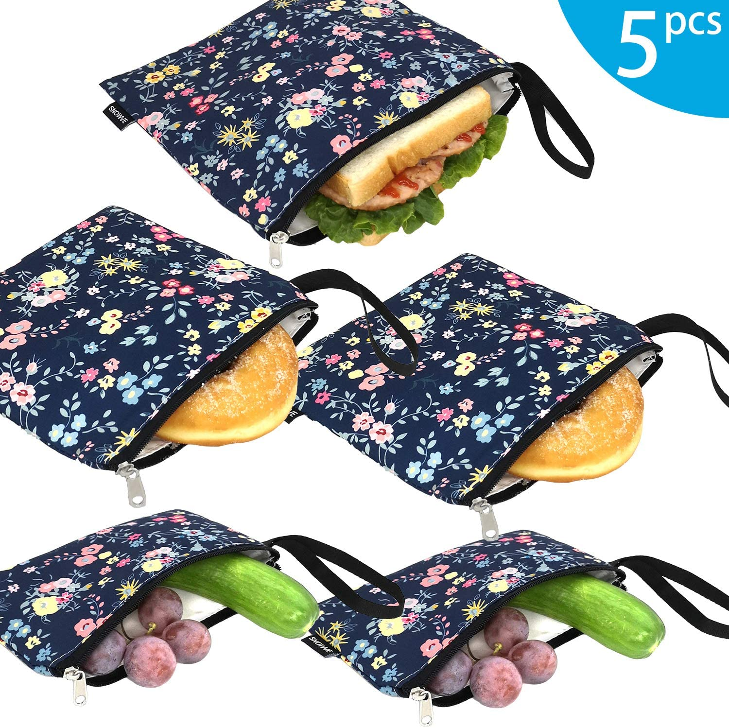 Reusable Snack Bags Sandwich Bags - Dual Layer Eco Friendly Dishwasher Safe Lunch Baggies, BPA Free, PVC Free, Set of 5 Pack(Flower)