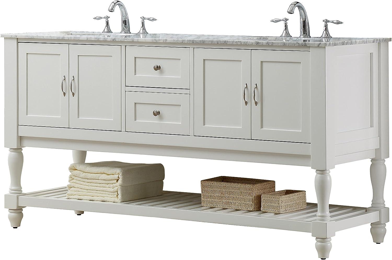 Direct Vanity Sink 6070d10 Wwc Mission Turnleg 70 Vanity With Carrara White Top Bathroom Vanities Amazon Com