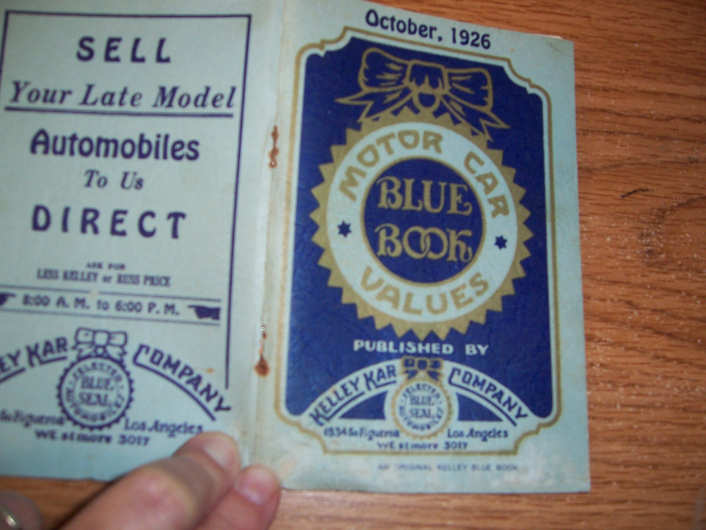 Kelley Kar Motor Car Values Blue Book Edition Of October 1926