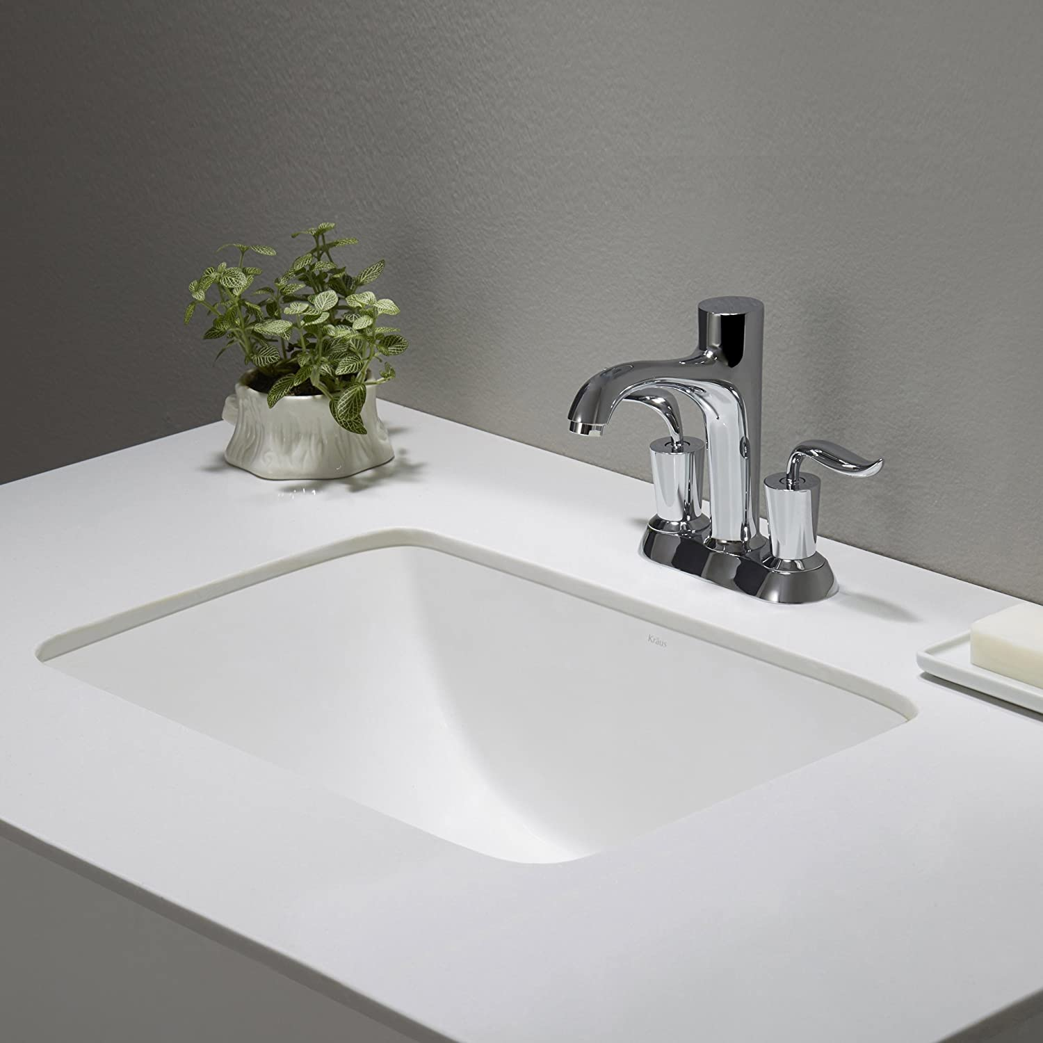 Kraus KCU 241 Elavo Ceramic Small Rectangular Undermount Bathroom Sink With  Overflow, White     Amazon.com
