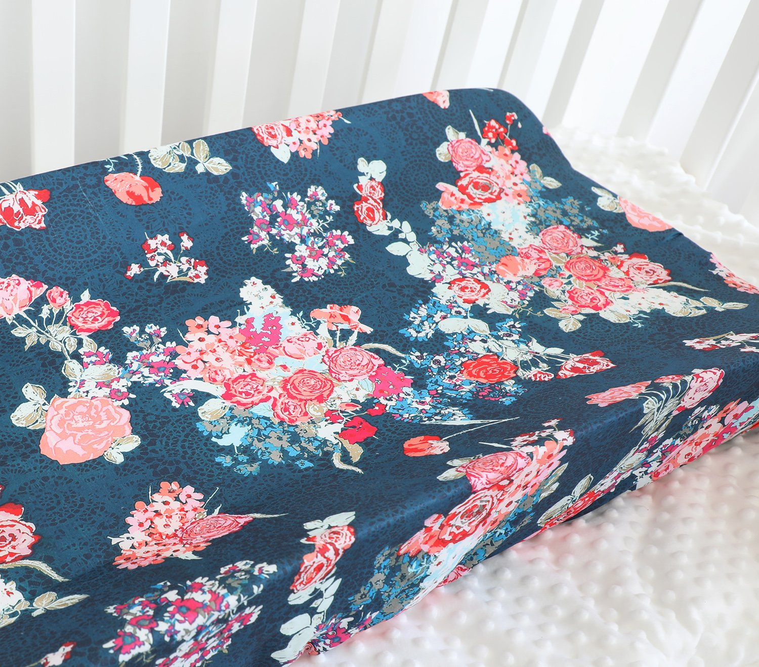 Aqua Coral Baby Girl Floral Crib Bedding Changing Pad Cover