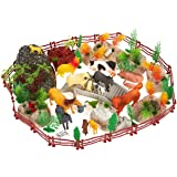 100-Pack Plastic Animal Farm Toys - Farm Animal Figures Set, Small Farm Animal Figurines with Fake Props, Foliage, Fencing and Rocks, Includes Carrying Case - Box Dimensions: 10.5 x 6.2 x 8.2 Inches
