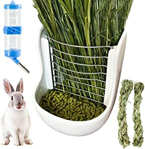 kathson Rabbit Hay Feeders CeramicFood Bowl Rack Bunny Water Bottles Dispenser Small Animal ChewTwistfor Rabbit Guinea Pig Chinchillas Hamsters