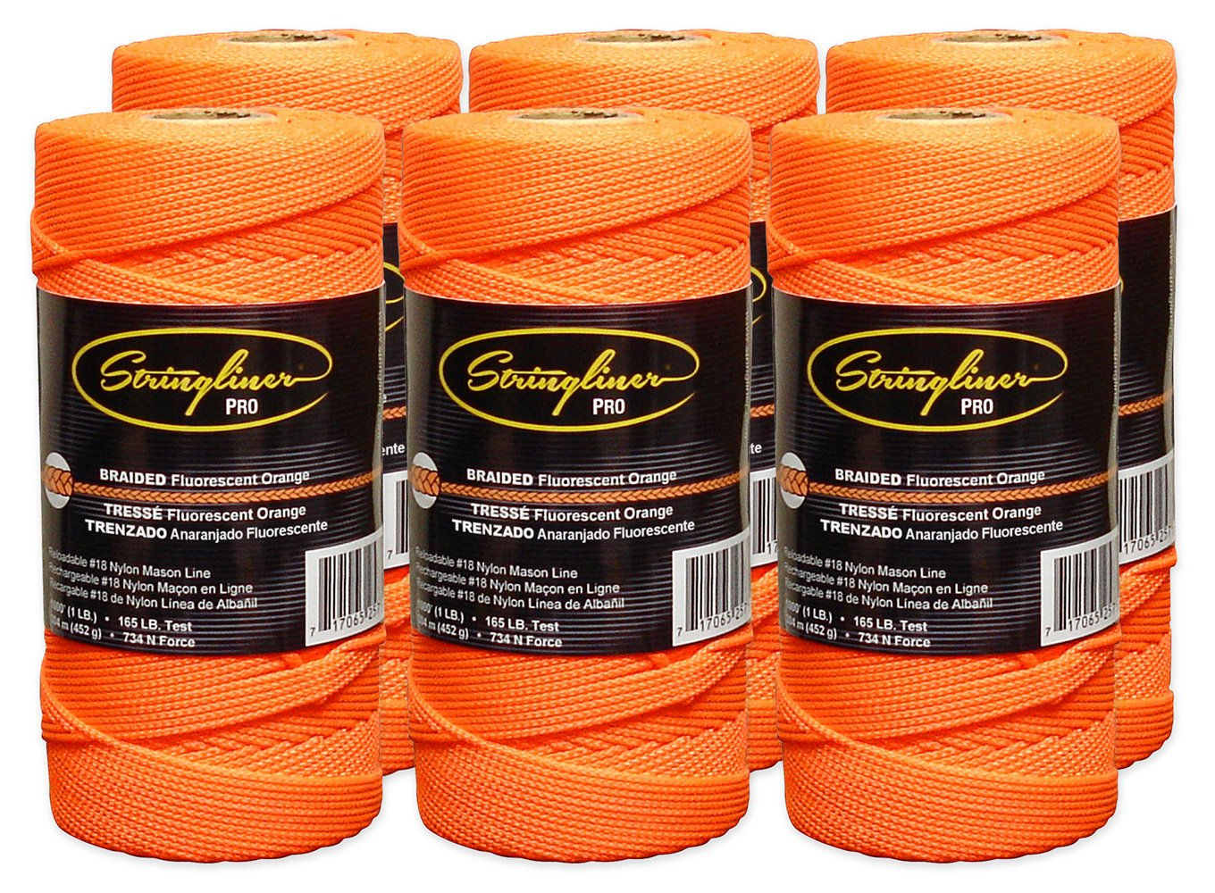 Stringliner Braided Mason Line Replacement Roll Contractor Pack 1,000' - Orange (Pack of 6) - SL35759CPK by Stringliner