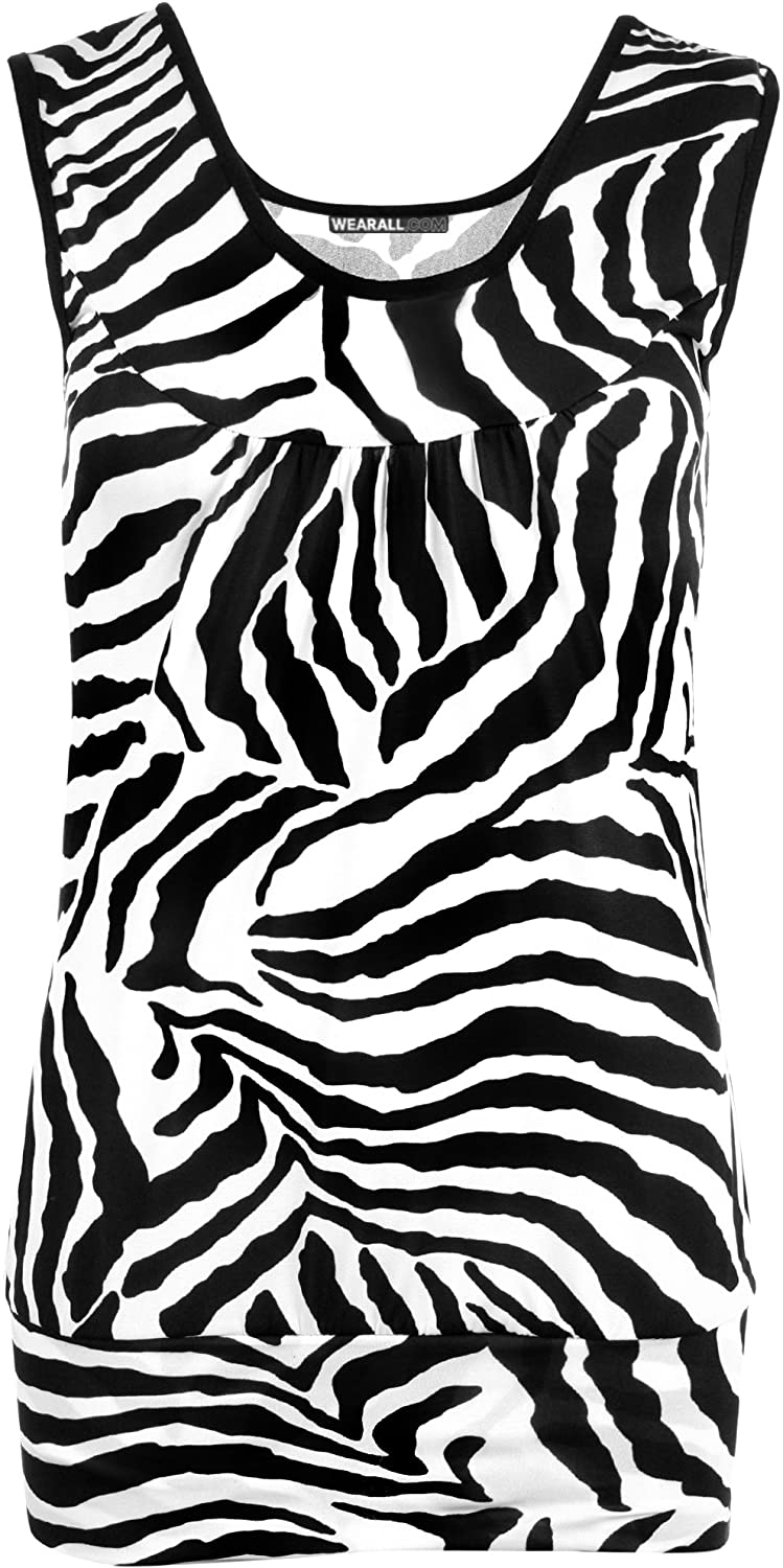 New womens zebra black white short animal print vest ladies sleeveless top 8 14 amazon co uk clothing