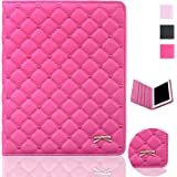 iPad Case,iPad 2 3 4 Case,Bestwo Embroidery Quilted Design PU Leather Smart Protective Stand Case Cover with Auto Sleep/Wake for Apple iPad 2/3/4-Rose Red(9.7 Inch)