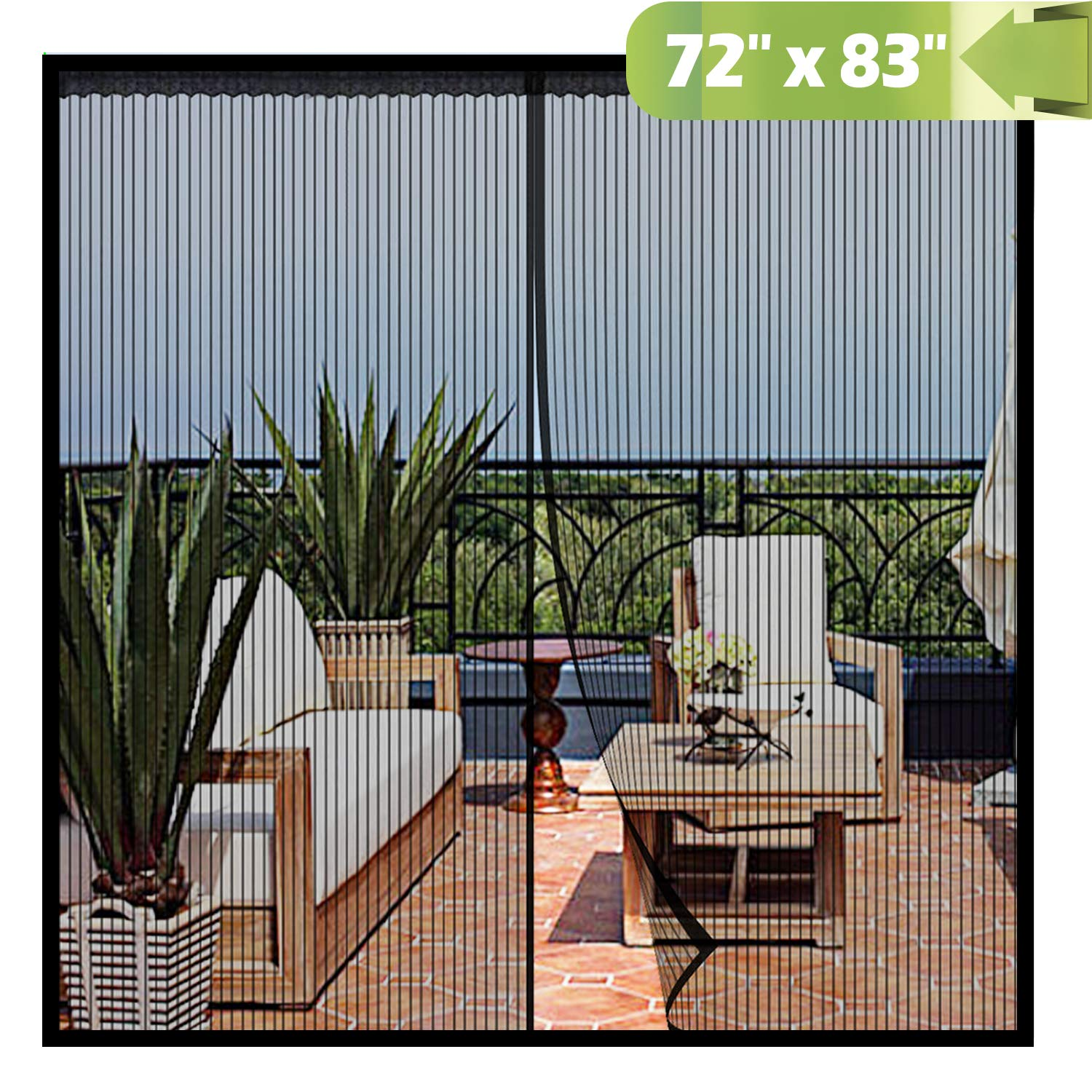 Magnetic Screen Door 72x 83 Inch,Heavy Duty Mesh Curtain Snap Shut Automatically for Patio Sliding Or Large Door by Chutsang