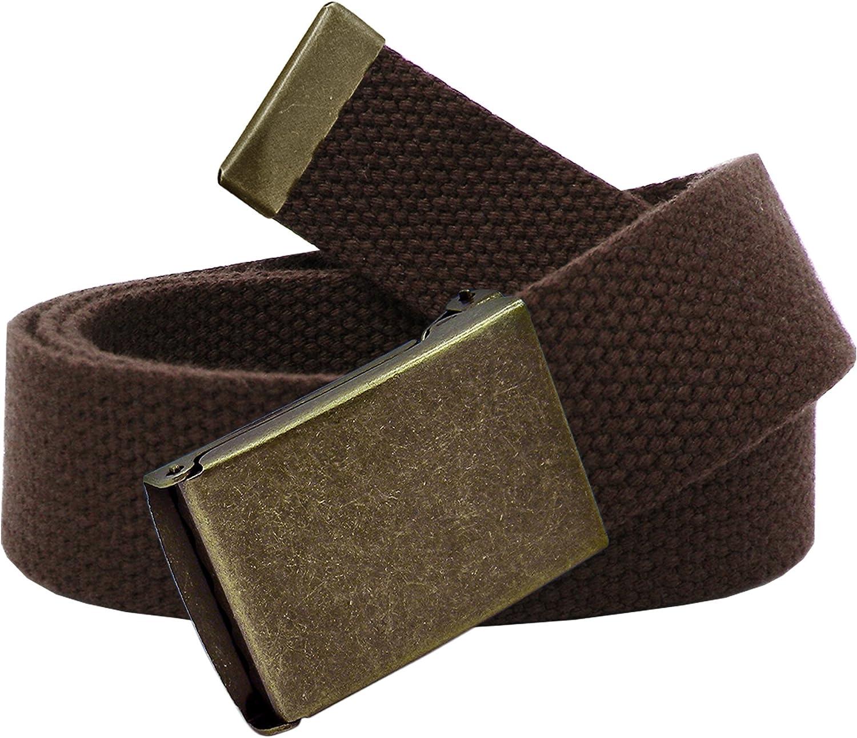 Boys School Uniform Distressed Gold Flip Top Buckle with Canvas Web Belt X-Large Brown