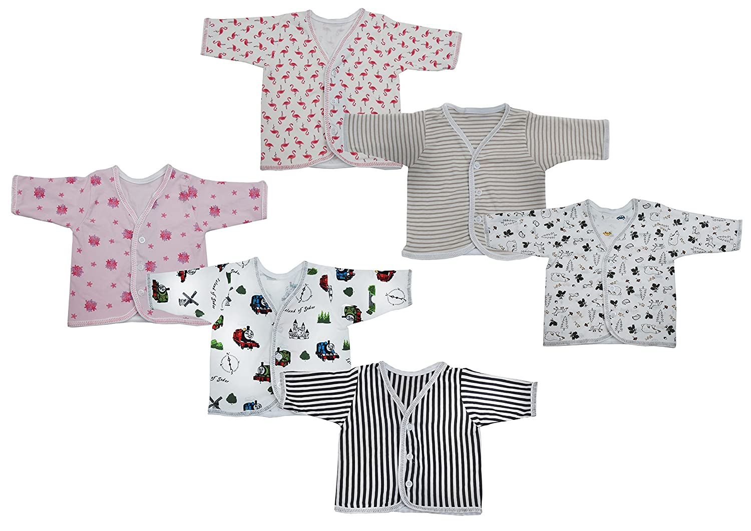 Baby Fly New Born Baby Full Sleeves Hosiery Open Vest T-Shirt (Multicolour,0-8 Months) Pack of 6