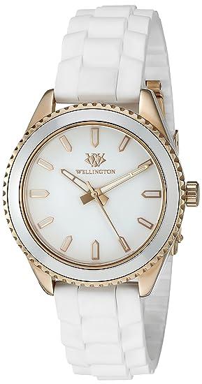 Wellington WN508-386 - Reloj analógico de cuarzo para mujer con correa de silicona, color blanco: Amazon.es: Relojes