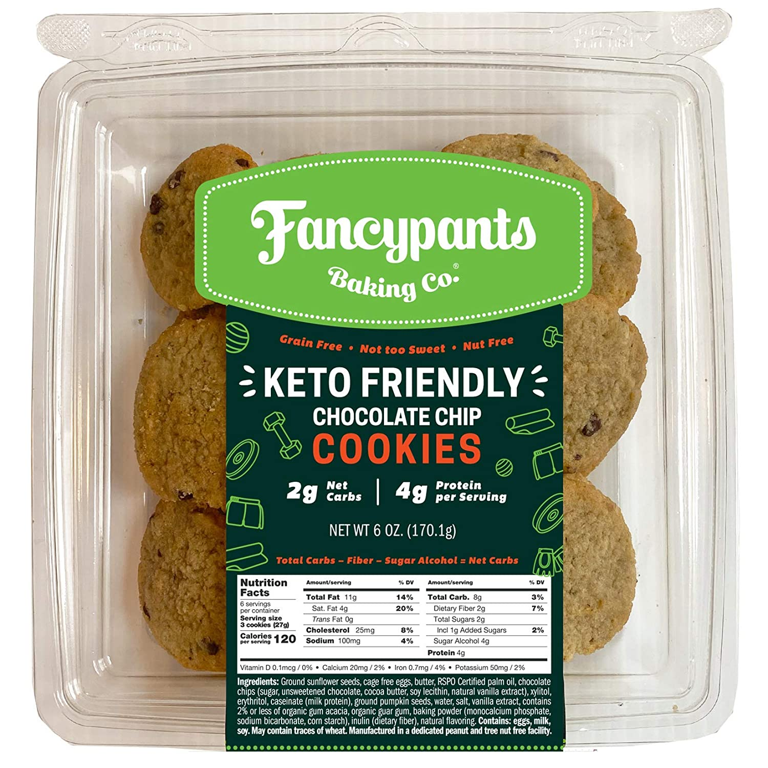 Fancypants Baking Co. Keto Chocolate Chip Chocolate Cookies: Low Carb Snack Cookies, Chocolate Chip, 3 Pack - Gluten Free & Peanut and Tree Nut Free, Dessert Sweets, Keto-Diet Food