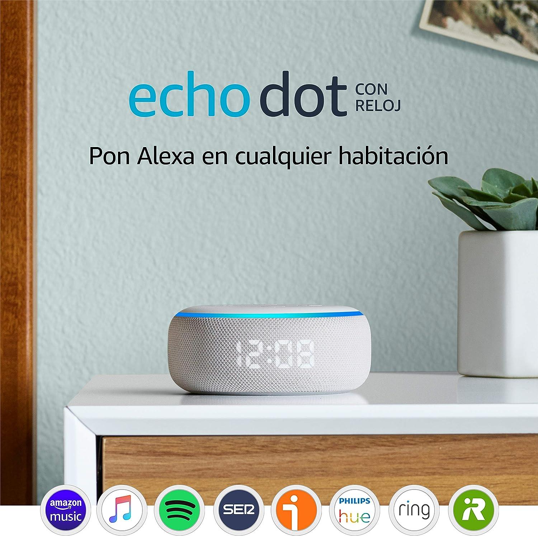 Echo Dot (3.ª generación) - Altavoz inteligente con reloj y Alexa, tela de color gris claro