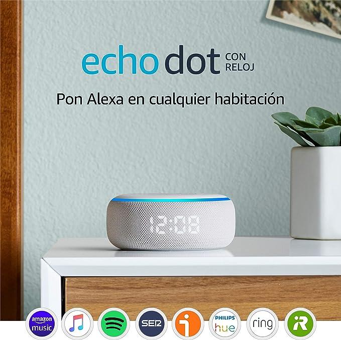 Image ofEcho Dot (3.ª generación) - Altavoz inteligente con reloj y Alexa, tela de color gris claro