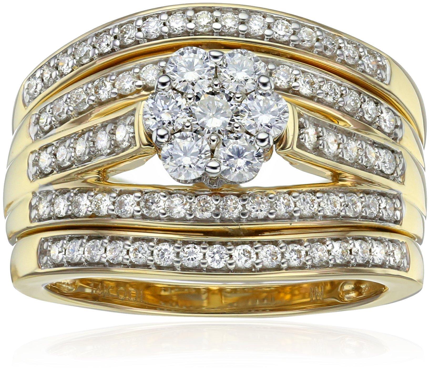 IGI Certified 14k Yellow Gold Diamond Cluster Bridal Set of 3 Wedding Ring Set (1cttw,H-I Color,I1-I2 Clarity), Size 7